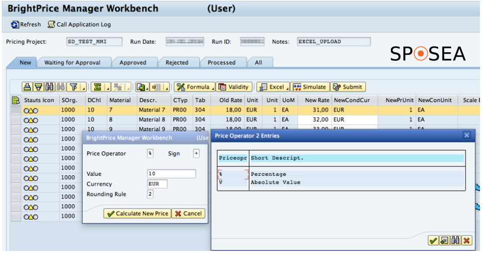 Price maintenance in SAP software GUI
